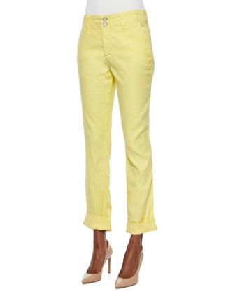 Leann Boyfriend Linen-Blend Pants