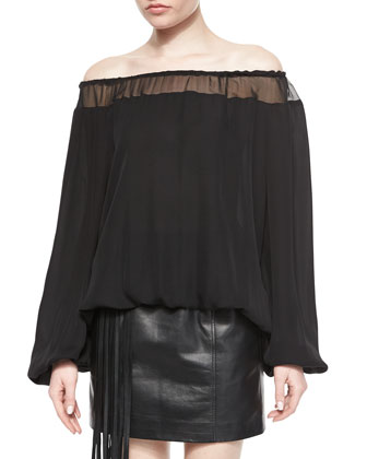 Off-the-Shoulder Silk Blouse & Lambskin Leather Mini Skirt W/ Fringe Pocket