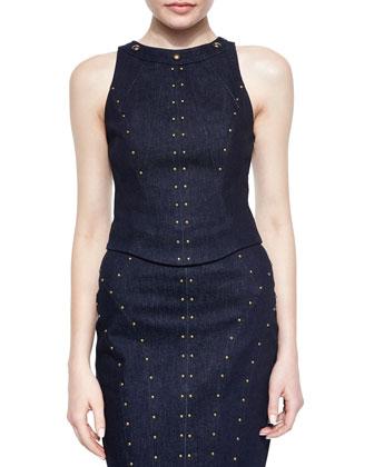 Sleeveless Studded Denim Top & Pencil Skirt