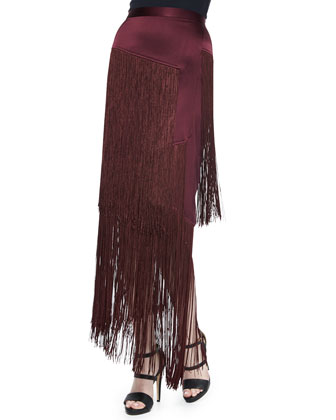 Halter Faux-Wrap Blouson Bodysuit & Layered Fringe Silk Skirt
