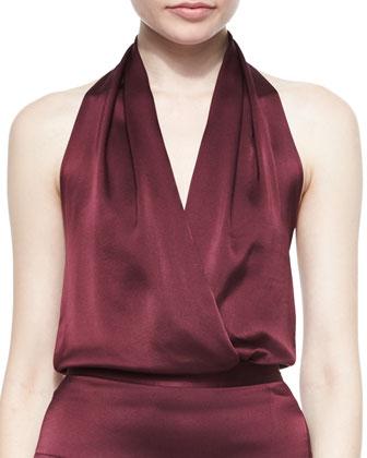 Halter Faux-Wrap Blouson Bodysuit & Layered Fringe Silk Skirt