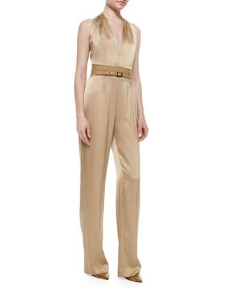 Silk T-Back Jumpsuit W/ Suede Detail