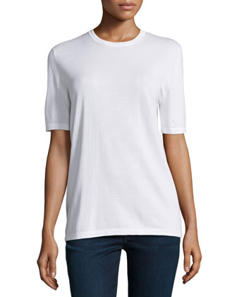 Short-Sleeve Relaxed Top, White