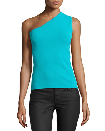 One-Shoulder Tank Top, Aqua