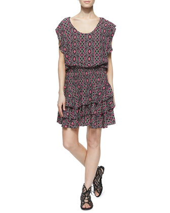 Multipattern Tiered Flutter-Sleeve Dress, Multicolor