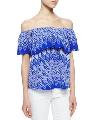 Geometric Flutter-Sleeve Blouse, Blue/White