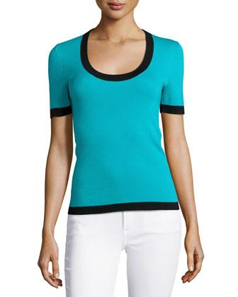Short-Sleeve Cashmere Top with Contrast Trim, Aqua Multi