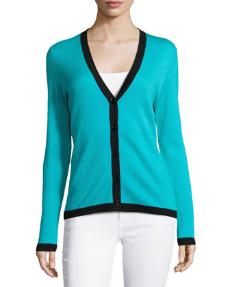 Two-Tone Long-Sleeve Cashmere Cardigan, Aqua Multi