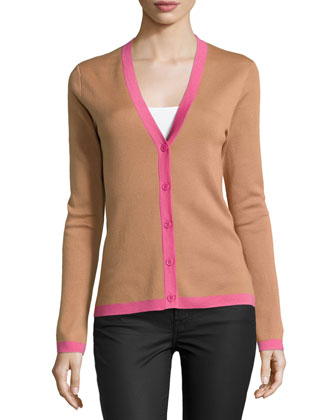 Long-Sleeve Cashmere Cardigan with Contrast Trim, Suntan Multi