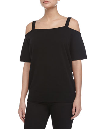 Cold-Shoulder Tee, Black