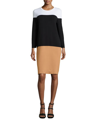 Long-Sleeve Colorblock Dress, Suntan Multi
