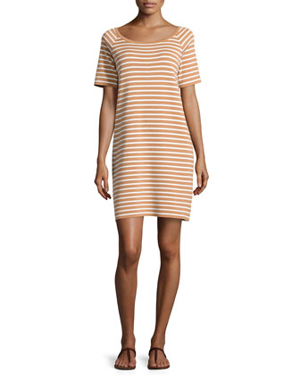Striped Shift Dress, Suntan