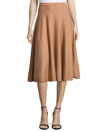Long Flare Skirt, Suntan