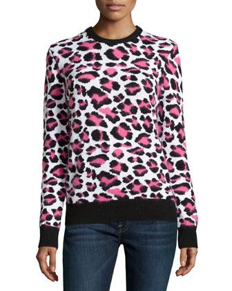 Long-Sleeve Animal-Print Sweater, Carnation Multi