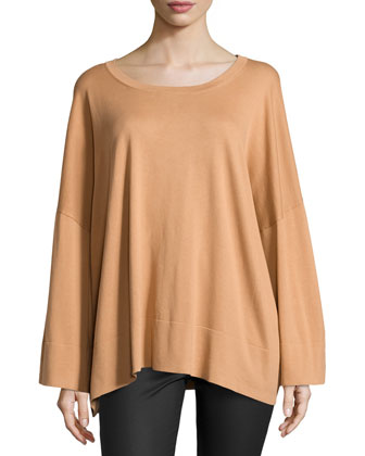 Oversized Long-Sleeve Top, Suntan