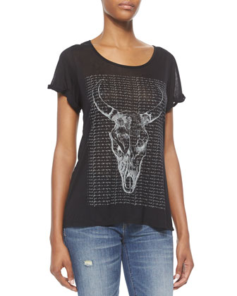 Short-Sleeve Longhorn Tee, Black