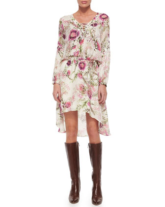 Long-Sleeve Lace-Up Floral-Print Dress
