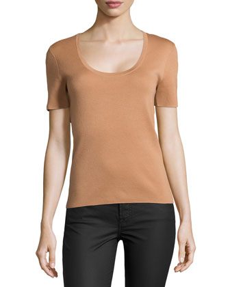 Cashmere Short-Sleeve Sweater Top, Suntan