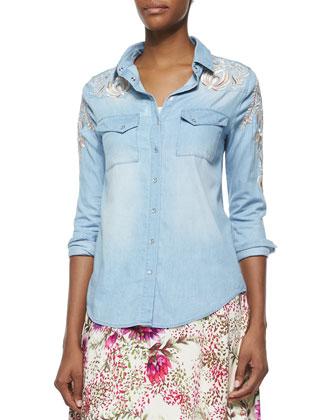 Long-Sleeve Chambray Shirt W/ Threadwork & Floral-Print Maxi Skirt