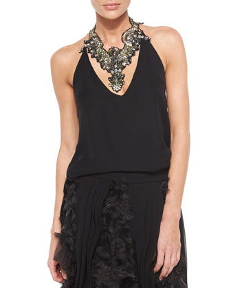 Silk Halter Top, Black