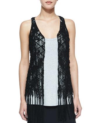 Suede Crochet Vest W/ Fringe, Scoop-Neck Racerback Tank & Asymmetric Silk ...