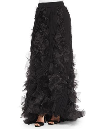 Silk Halter Top, Beaded Bib Necklace & Organza Pleated Ball Skirt