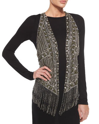 Embroidered & Beaded Fringe-Trim Vest & Crewneck Long-Sleeve Open-Back Dress