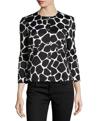 Three-Quarter-Sleeve Jacket, Optic White/Black