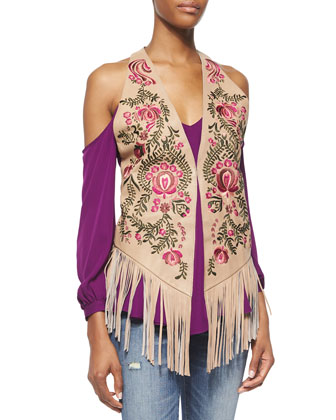 Cold-Shoulder Long-Sleeve Blouse & Embroidered Leather Vest with Suede Fringe