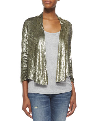 Drapey Sequined Blazer & Scoop-Neck Racerback Tank
