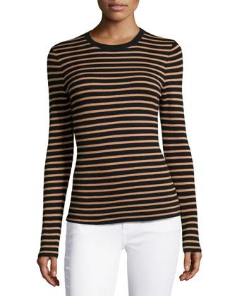 Long-Sleeve Striped Top, Black