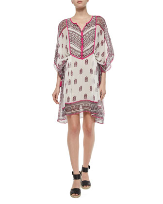 Mauzi Multipattern A-Line Dress, Spring Rose