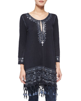 Berega Embroidered Tassel Tunic, Navy