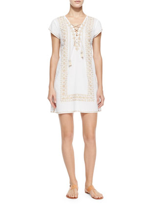 Roindra Embroidered Sheath Dress, White