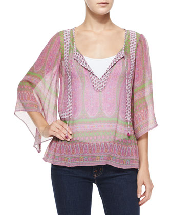 Entisse Sheer Silk Paisley Blouse, Pink/Clover