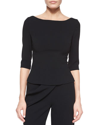 Gaspy Crepe Bateau-Neck Top, Black