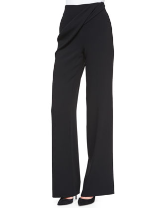 Gido Crepe Drape-Detail Pants, Black