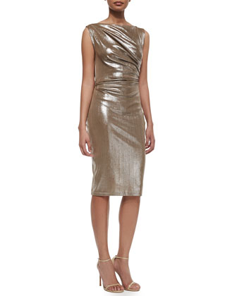 Frosted Draped Jersey Sheath Dress
