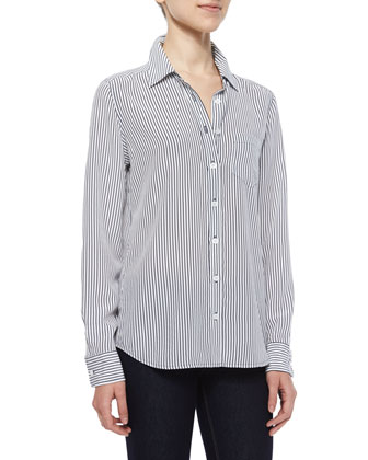 Brett Striped Silk Shirt, Bright White/Peacoat