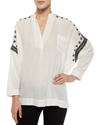 Kamul Sheer Embroidered Top, Cream