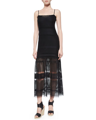 Fancy Plaid-Pattern Tea-Length Dress, Black