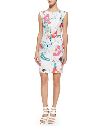 Floral Reef Cotton Sheath Dress, Summer White/Multicolor