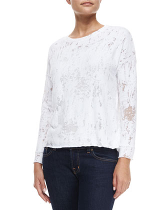 Mika Long-Sleeve Distressed Burnout Tee, White
