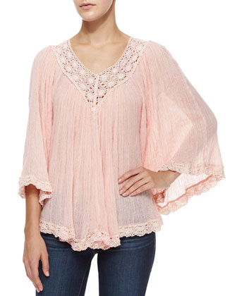 Nuevo Stevie Lace-Trim Plisse Blouse, Blush