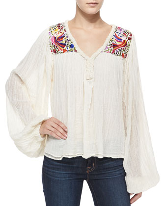 Belen Long-Sleeve Paradise-Embroidered Blouse, Natural