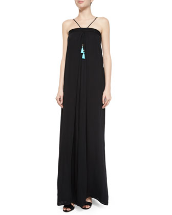 Lotus Maxi Shift Dress, Black