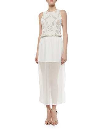 Emma Silk Beaded Maxi Dress, White