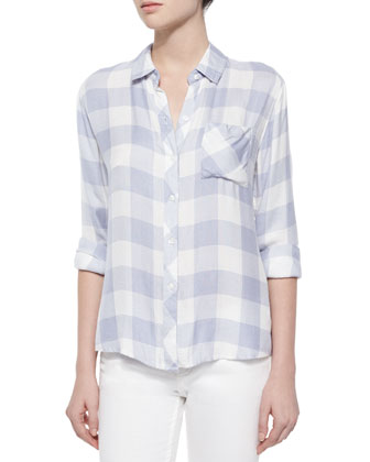 Hunter Long-Sleeve Gingham Shirt, Periwinkle/White