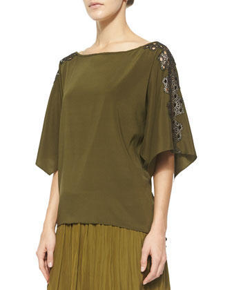 Mira Knit Blouse w/ Faux-Leather Trim, Olive