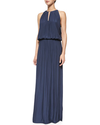 Lindsay Plisse Maxi Dress, True Navy